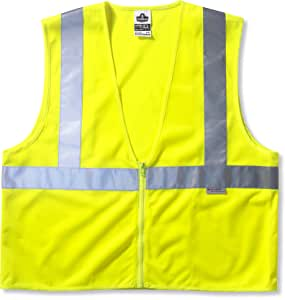 GloWear 8225HL ANSI High Visibility Lime Solid Reflective Safety Vest, Hook & Loop Closure, 2XL/3XL