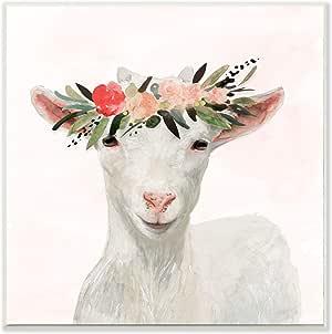 Stupell 家居装饰系列春季花皇冠婴儿山羊 多色 12 x 12 aap-227_wd_12x12