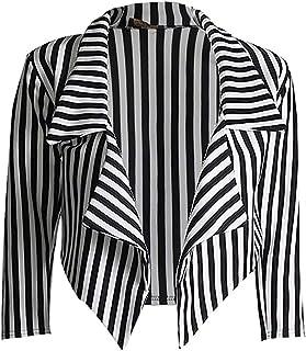 GirlzWalk 女式七分袖条纹印花前开式瀑布露脐外套