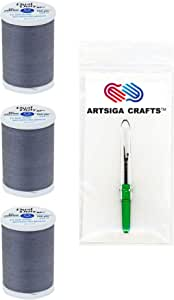 Coats & Clark Dual Duty XP General Purpose Poly Thread 250 Yds (3-Pack) Slate with 1 Artsiga Crafts Seam Ripper S910-0620-3P