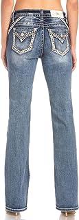 Miss Me 女式发光中腰曲线微喇牛仔裤,带假翻盖口袋