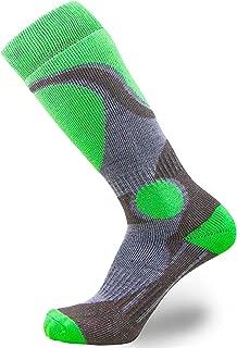 Elite 羊毛滑雪袜 男孩女孩 - 儿童美利奴羊毛青年滑雪 青少年 冬季保暖袜 1 Pair - Neon Green 小号/中号