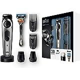 Braun 博朗 BT7040 剃须刀和剪发器,39 种长度设置,不锈钢修剪头,精密修剪刀头,附带吉列剃须刀和充电座 黑色/灰色