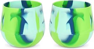 silipint 硅胶 WINE 玻璃杯美国不含 BPA 结实耐用红色和白色 WINE drinkware Sea Swirl 2 件装