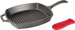 Lodge L8SGP3ASHH41B 方形铸铁烤盘,10.5英寸(约26.67厘米),黑色