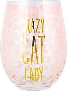 Crazy Cat Lady 粉色豹纹 8 盎司玻璃无茎酒杯