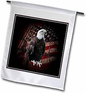 BEVERLY TURNER 摄影–美国国旗白头鹰–旗帜 12 x 18 inch Garden Flag