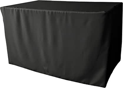 LA Linen Polyester Poplin Fitted tablecloth for 4-Foot Table, Black