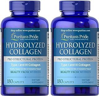 纯净的水溶胶原蛋白2件装1000 毫克纯净水解胶原料 1000 毫克-180 caplets