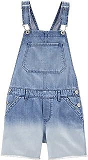 OshKosh 未加工下摆染色短裤带可调节肩带尺码 5 牛仔布,白色
