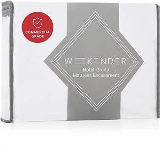 WEEKENDER 亚马逊商业级密封床垫保护罩 - 防水 - 360 度保护 - 耐高热烘干机 - 可漂白 - 强化接缝 Queen WKPJQQ3LEP