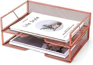 玫瑰金字母托盘 – Meshist 2 层可堆叠纸托盘桌面收纳架,适用于桌面配件,网眼金属文件收纳架,适用于家庭和办公室
