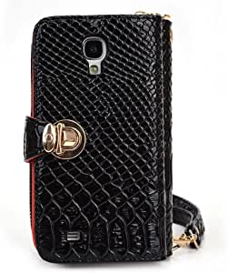 Kroo Multi-Use Smart Phone Wallet Case with Coin Pouch for Samsung S4 - Black Croc