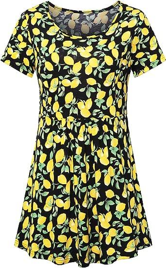 FANSIC 女式花卉上衣,短袖高腰 A 字型飘逸束腰衬衫 Black+yellow455 Small