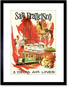 22.9 x 17.8 cm SAN francisco DELTA AIRLINE 金门 tram 带框艺术印刷品 F97 X 1309