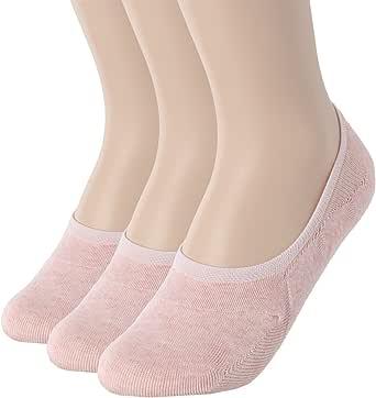 "OSABASA 女式 3 至 5 件装薄休闲隐形袜防滑平底船袜 3 Pairs-kwms058-pink Shoe Size 8-11 (Sock Size 9.5""-10.5"")"
