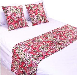 """YIH 红色涡纹花纹床罩和抱枕套套装,奢华装饰床围巾护套,适用于卧室酒店婚礼房间 红色 102"""" x 19"""""""