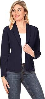 女式纯色宽松长袖口袋前开休闲外套外套/美国制造