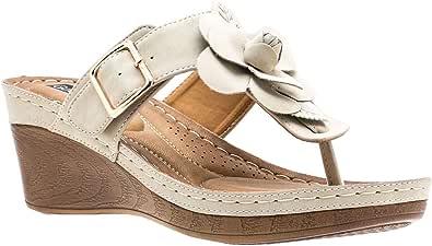 Gc Shoes 女式 Sydney Rosette Slide 坡跟凉鞋 Natural Fl 9.5 M US