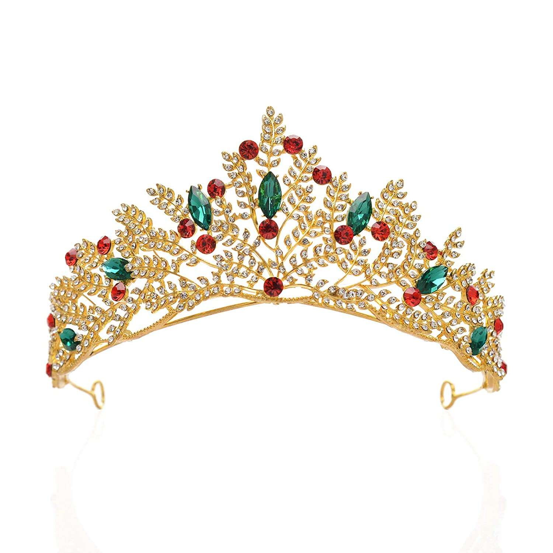 sweetv 金色叶子婚礼头饰 - 水钻选美皇冠新娘发饰公主女王皇冠和头冠