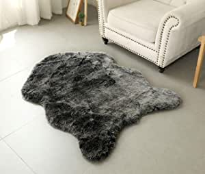 NEWCOSPLAY 超柔 4.5 厘米厚室内轿车小地毯垫人造羊皮地毯椅套蓬松客厅地毯 黑色/白色 3ft x 4ft