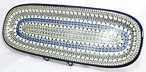"""Pottery Avenue 1432/DU199 波兰魔法瓷盘,19.5"""",蓝色/绿色/橙色"""