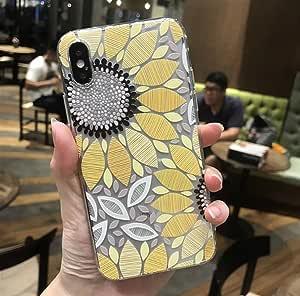 iPhone X 软壳,LuoMing 3D 浮雕美丽花图案纤薄贴合减震软橡胶透明 TPU 外壳 iPhone X 5.8 英寸(2017) 向日葵喷涂