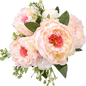 rerxn 7头仿真牡丹花束丝绸花朵 arrangement 假花卉结婚家居装饰
