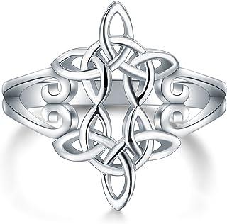 BORUO 925 纯银戒指凯尔特结心十字架高抛光抗锈蚀永恒婚戒可叠放戒指