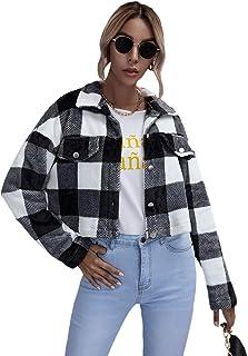 MakeMeChic 女式单排扣落肩长袖水牛格子夹克