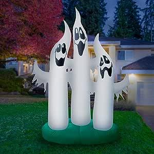 Holidayana 巨型 10 英尺喷气式幽灵家族 - 充气万圣节装饰带超亮内部灯,内置风扇和锚绳