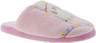 Chatties 女孩大孩子一脚蹬毛绒家居拖鞋,可爱温暖舒适的家居鞋