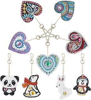 ZYXY 钻石画钥匙链 5D 马赛克制作全钻可爱动物钻石画吊坠 DIY 装饰,爱心和小动物