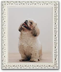 定制框架 - 维也纳白色,华丽的怀旧别致白相片画框带白色底座。 白色 50 x 40 cm