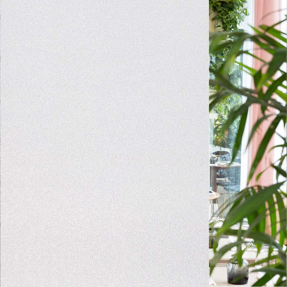 窗膜,静电吸附膜非粘性遮光遮阳可移除装饰磨砂隐私薄膜,适用于玻璃窗(哑光白,44.96 x 198.78 厘米)