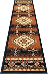 South West Area Rug Runner 32 Inch X 10 Feet Black Bellagio 357