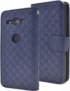 PLATA iPhoneX 手机壳 手帐式 菱形纹 皮质 收纳包 蓝色 1.iPhone X
