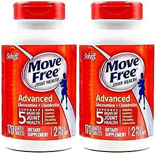 2瓶装|Schiff Move free维骨力氨糖软骨素片红瓶基础版 170粒 2瓶装(美国品牌 香港直邮)