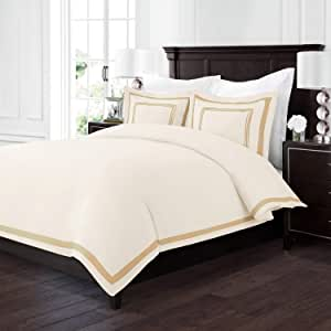 Sleep Restoration Luxury Soft Brushed Embroidered Microfiber Duvet Cover Set with Beautiful Trim & Embroidery Details - Hypoallergenic -Full/Queen - Cream/Gold
