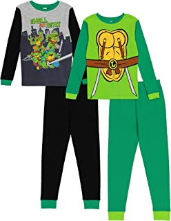Teenage Mutant Ninja Turtles Nickelodeon 男童 4 件套棉质睡衣套装