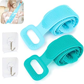 LOSLANDIFEN 硅胶淋浴背部清洁器 - 2 件硅胶浴室身体刷背部清洁去角质身体刷沐浴毛巾适用于女士和男士(76 厘米 - 蓝色/*)