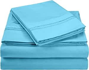 LUXOR TREASURES Super Soft, Light Weight, 100% Brushed Microfiber, Queen, Wrinkle Resistant, 4-Piece Sheet Set Aqua with Embroidery in Gift Box(2-Line)