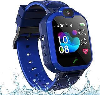 儿童 GPS 智能手表手机 IP67 防水,男孩女孩 4G 2G 手表带 GPS 定位器 双向呼叫 SOS 语音聊天相机计步器闹钟运动手表礼物 02-2G LBS Waterproof Blue