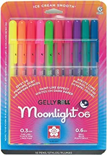 Sakura 58176 10-Piece Gelly Roll Blister Card Moonlight 06 Fine Point Gel Ink Pen Set, Assorted Colors 什锦