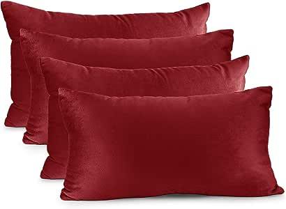 Nestl 床上用品抱枕套柔软方形装饰抱枕套舒适天鹅绒靠垫套沙发沙发沙发卧室 樱桃红 4 - 12x20