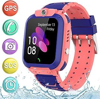 儿童智能手表 GPS 追踪电话 - 2019 新款防水儿童智能手表 1.4 英寸触摸屏 SOS 电话通话对讲机步行计步器健身运动表带 适合年龄4-12 岁男孩女孩PTH S12 GPS  S12 GPS Waterproof Pink