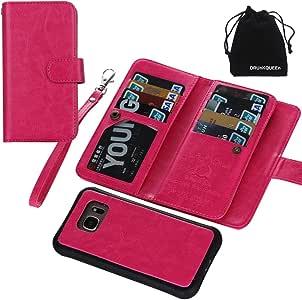 Galaxy S7 Edge 手机壳,S7Edge 手机壳,优质皮革钱包式便携钱包手拿包盖磁性可拆卸翻盖皮套手腕带和卡槽适用于三星 Galaxy S7 Edge(玫瑰红)