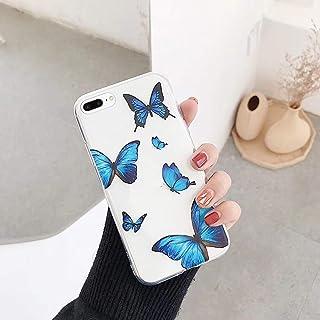 iPhone 7 Plus 手机壳,iPhone 8 Plus 手机壳,透明蝴蝶浮雕艺术绘画设计 TPU 柔软灵活纤薄橡胶硅胶透明手机壳女孩女士手机壳适用于 iPhone 7 Plus / 8 Plus 手机壳