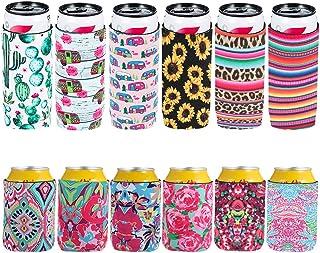 ZYXY 6 件装超薄啤酒罐冷却器袖套和 6 件装短啤酒罐冷却器盖,可折叠酒瓶架啤酒冷却器袋绝缘啤酒罐袖套