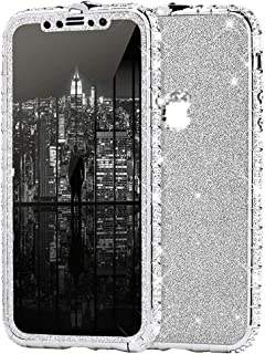 iPhone 7 手机壳,女孩和女士奢华闪亮闪亮水钻钻石金属纽扣保险杠手机壳和闪亮闪光贴纸保护壳适用于 iPhone 7 钻石手机壳,